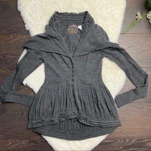 Anthropologie Guinevere Wool Grey Ruffle Cardigan
